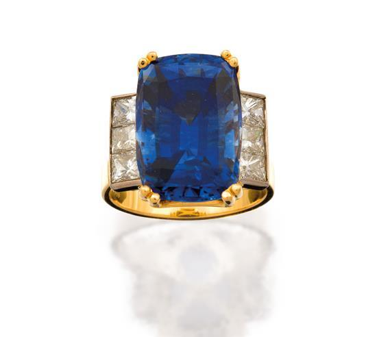 18ct gold, sapphire and diamond ring