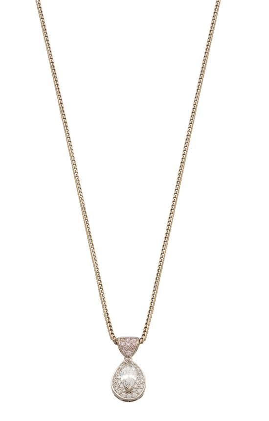 18ct white gold, diamond and fancy pink diamond pendant necklace, Giulians