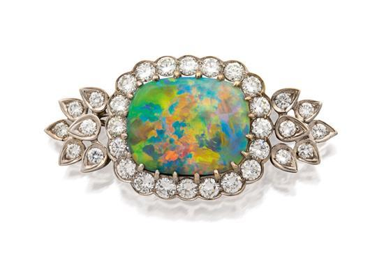 14ct white gold, opal and diamond brooch