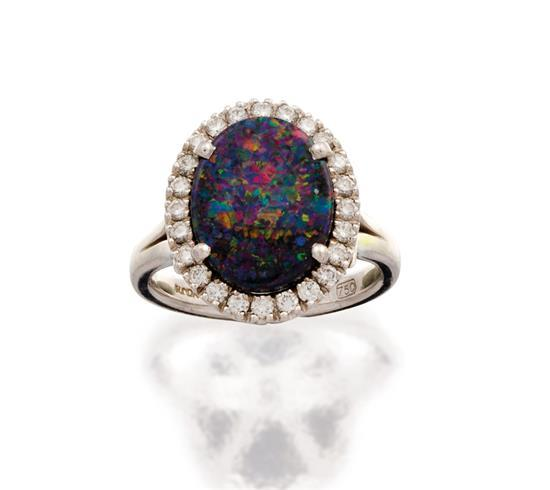 18ct white gold, opal and diamond ''Valentin'' ring, Bunda, circa 2014