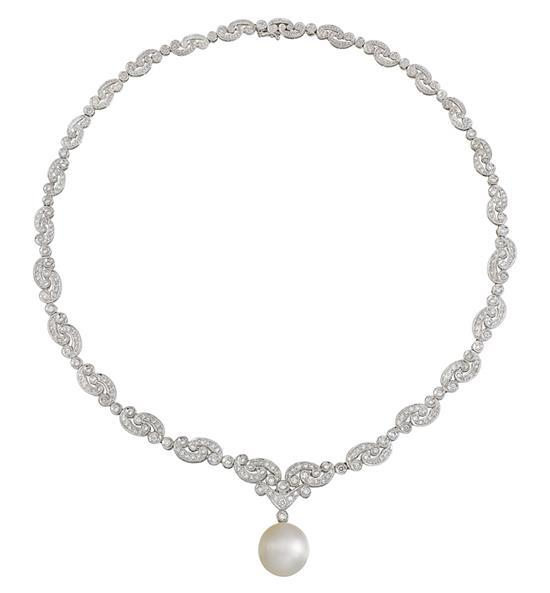 18ct white gold, south sea pearl and diamond necklace