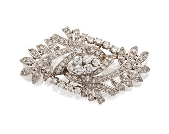 Diamond brooch, mid 20th century