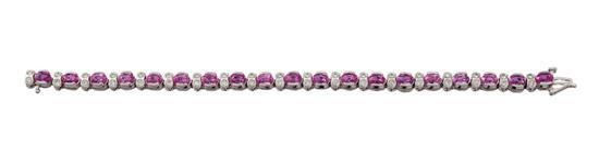 14ct white gold, pink sapphire and diamond bracelet