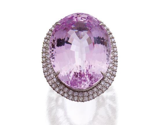 Platinum, kunzite and diamond ring
