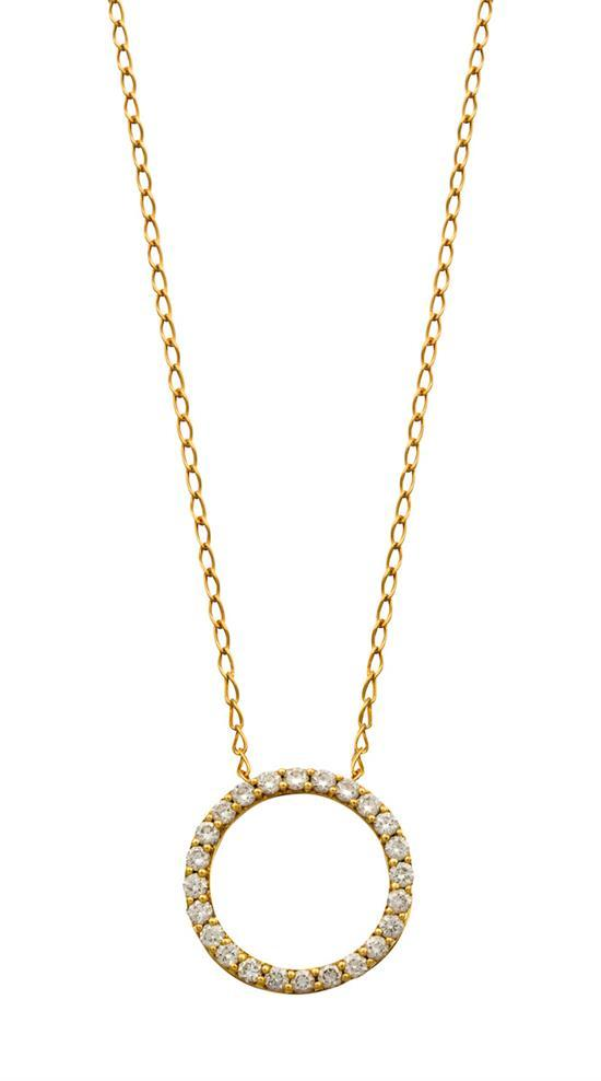 18ct gold and diamond pendant necklace