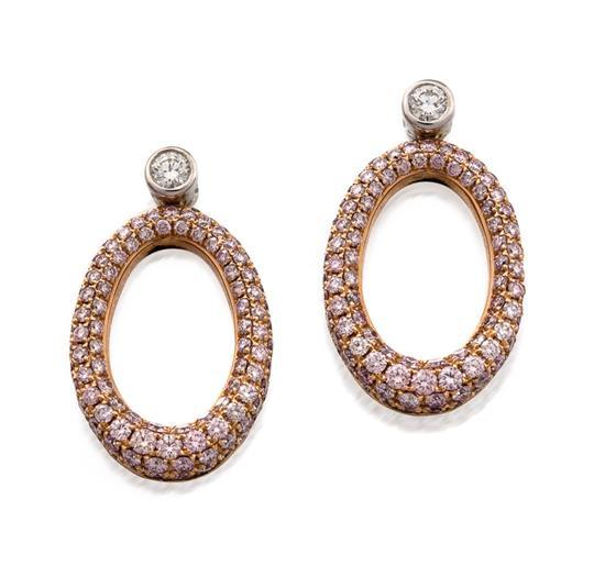 Pair of 18ct rose and white gold, Argyle fancy pink diamond and diamond ''O'' earrings, Linneys, circa 2011