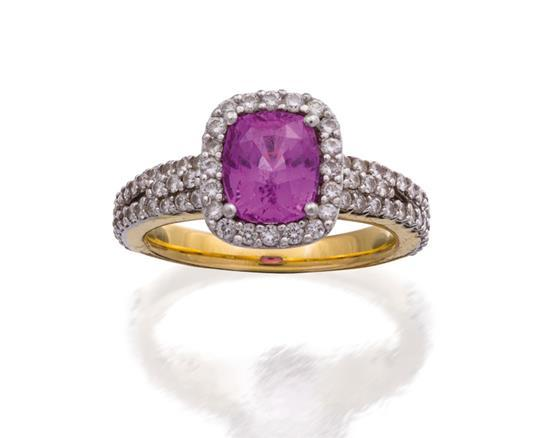 Purplish pink sapphire and diamond ring