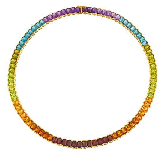14ct gold and gem-set necklace