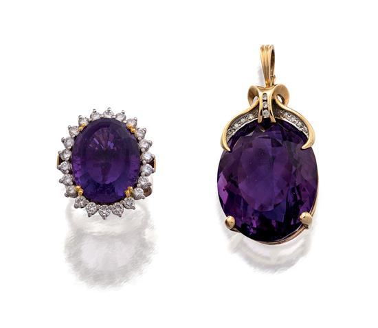 Gold, amethyst and diamond pendant and ring