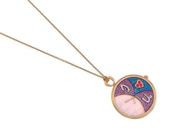 18ct rose gold, diamond, sapphire, ruby and mother-of-pearl pendant necklace