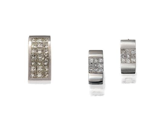 14ct white gold and diamond suite