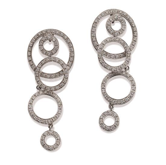 Pair of 18ct white gold and diamond pendant earrings