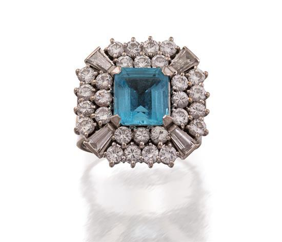 18ct white gold, aquamarine and diamond ring