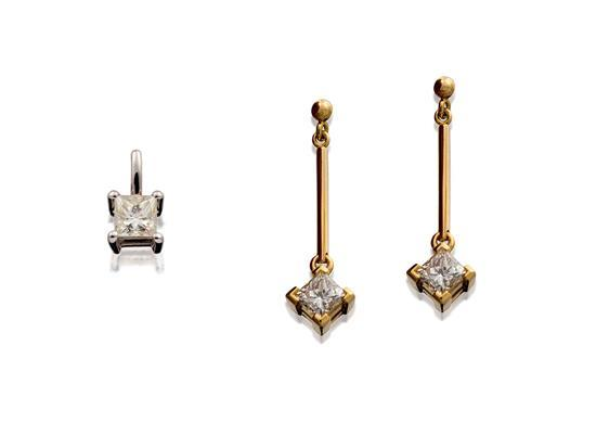Pair of 18ct gold and diamond earrings and pendant