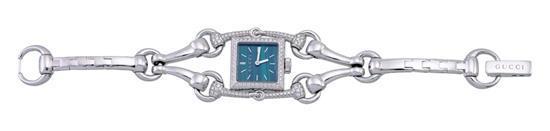 Gucci A lady''s 18ct white gold, malachite and diamond-set bracelet watch no 3 ATM 116.5 11599405