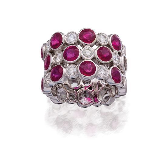 18ct white gold, ruby and diamond ring