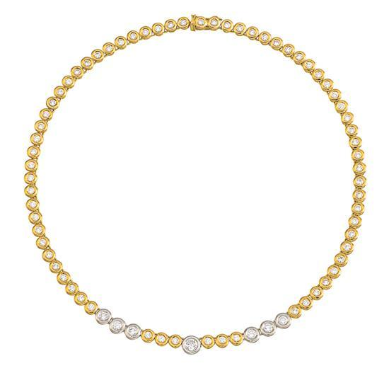 18ct bi-colour gold and diamond necklace, V. Caparros