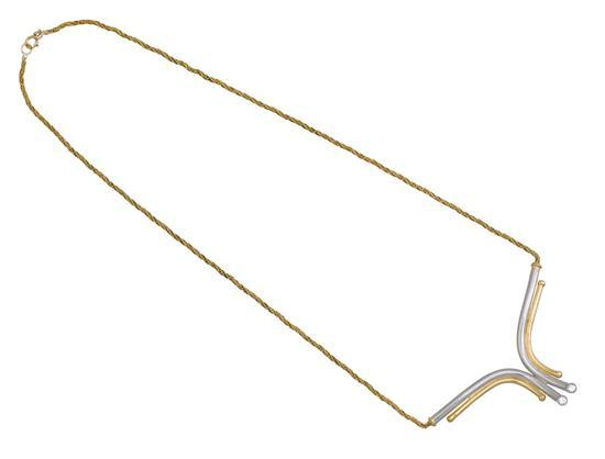 18ct bi-colour gold and diamond necklace