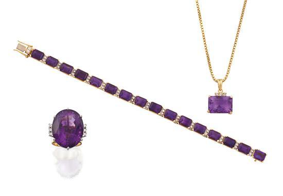 18ct gold, amethyst and diamond bracelet, ring and pendant