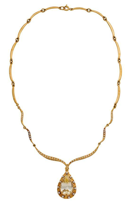 18ct gold, yellow sapphire and diamond necklace