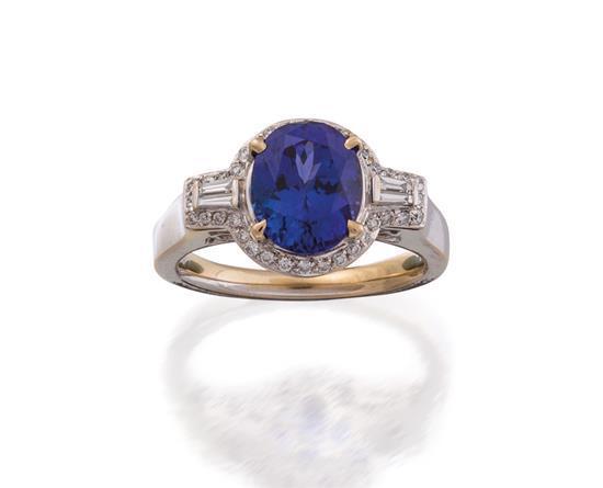 18ct white gold, tanzanite and diamond ring