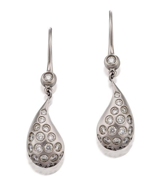 Pair of 18ct white gold and diamond earrings, Donald Huber