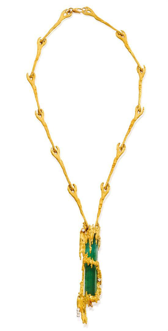 18ct gold, tourmaline and diamond pendant necklace