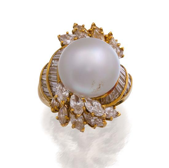 18ct gold, south sea pearl and diamond ring