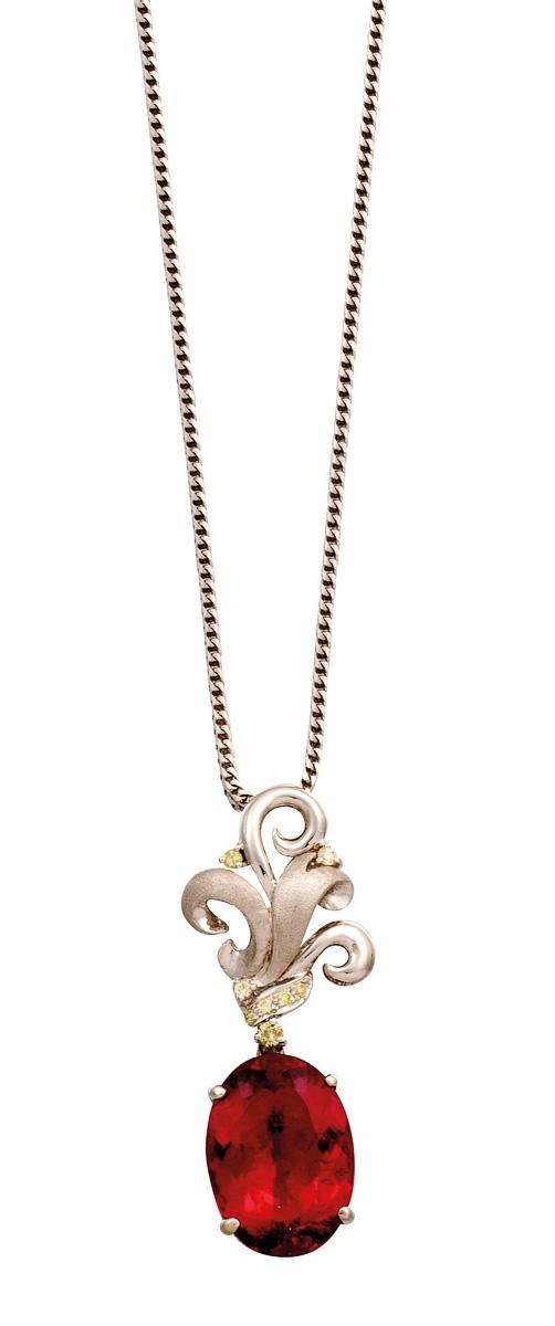 18ct white gold, rubelite and diamond pendant necklace, circa 2002