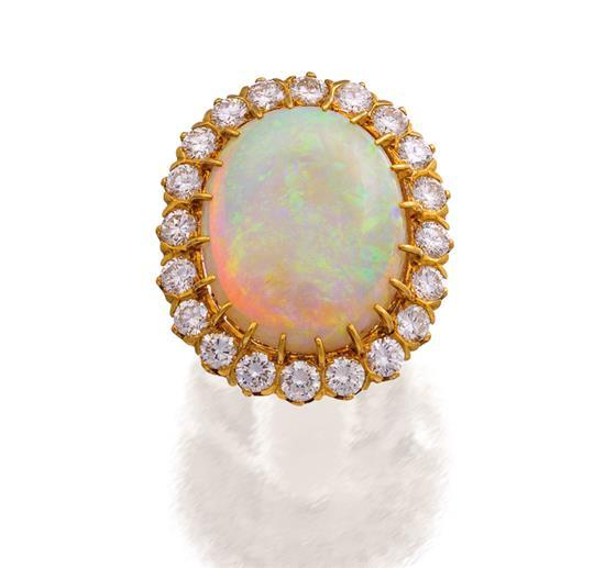18ct gold, opal and diamond ring