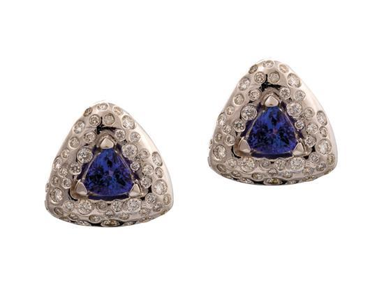 Pair of 18ct white gold, tanzanite and diamond earrings