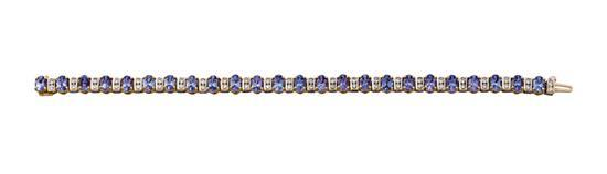 Gold, tanzanite and diamond bracelet
