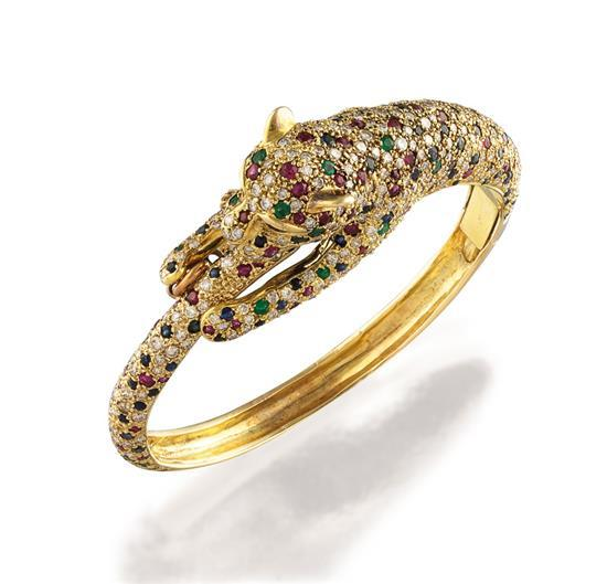 14ct gold, diamond and gem-set bangle