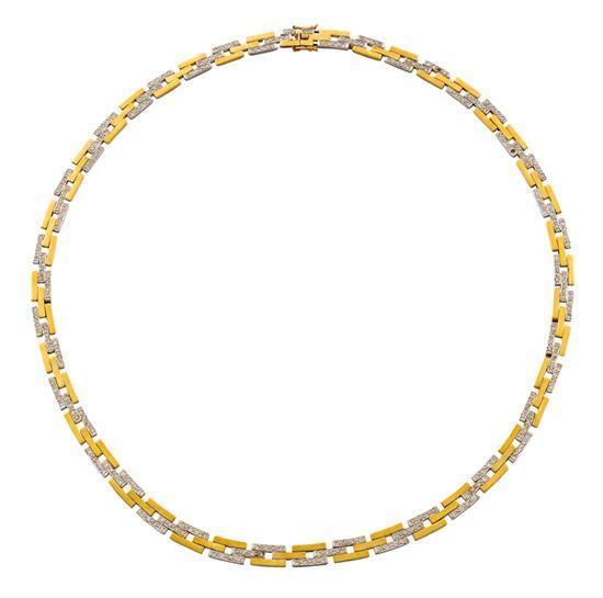 18ct bi-colour gold and diamond necklace