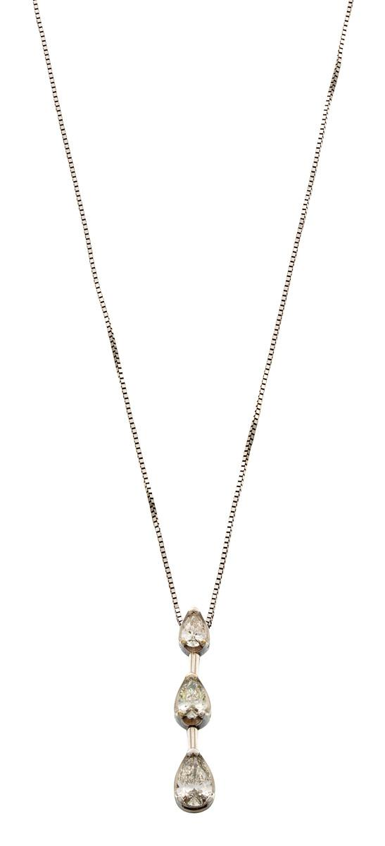 14ct white gold and diamond pendant necklace