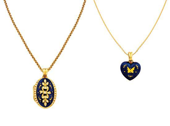 Two 18ct gold and enamel pendant necklaces, Victor Mayer for Fabergé, circa 2000