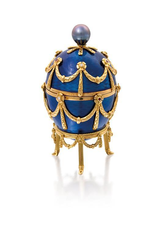 A fine 18ct gold, enamel, gem-set and south sea pearl Easter egg and surprise, Victor Mayer for Fabergé