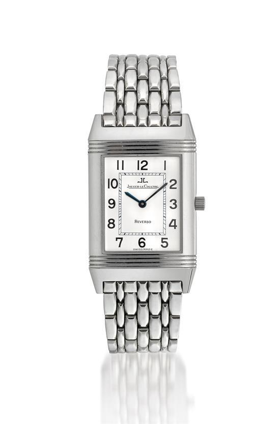 Jaeger-LeCoultre A stainless steel rectangular reversible wristwatch with bracelet ref 250.8.86 case 1915584 Reverso circa 2008