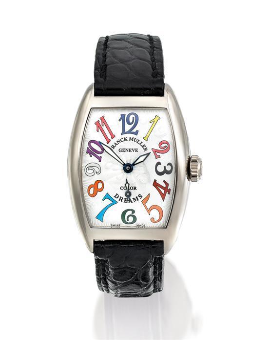 Franck Muller A lady''s 18ct white gold tonneau-shaped wristwatch ref 1750 S6 case 02/0750847-OG no 829 Color Dreams circa 2005