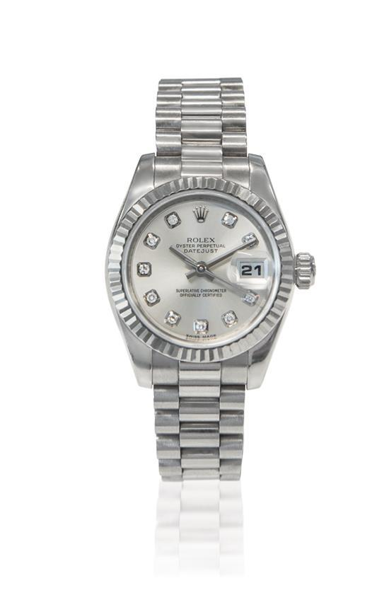 Rolex A fine lady''s 18ct white gold and diamond-set automatic wristwatch with date and bracelet ref 179179 mvt 2037931 no Z576349 ci..