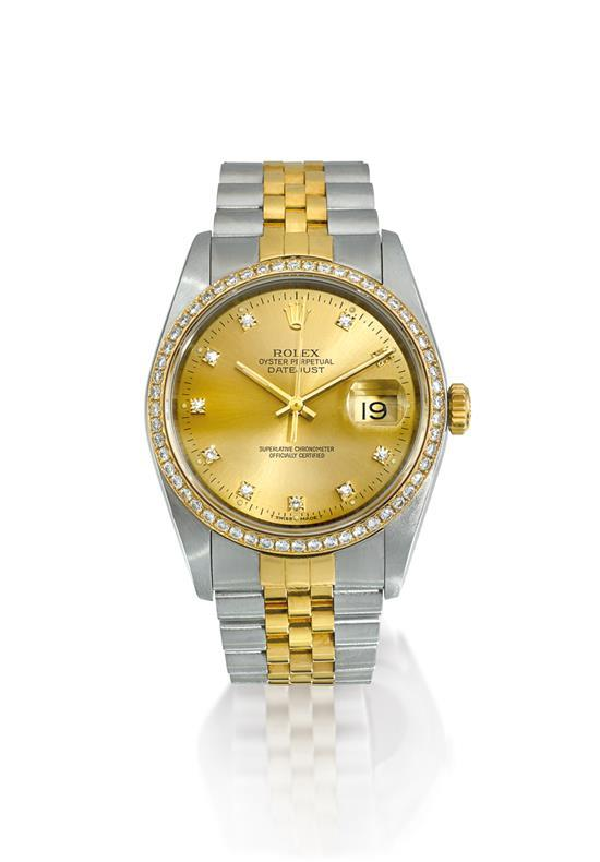 Rolex A stainless steel, gold and diamond-set automatic wristwatch with date and bracelet ref 16200 mvt 5019977 Datejust