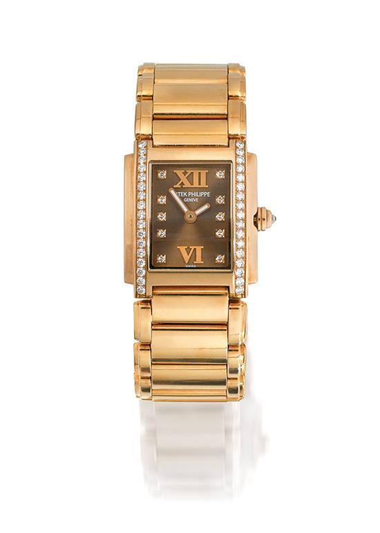 Patek Philippe A lady''s 18ct pink gold and diamond-set rectangular bracelet watch ref 4908/11R-010 mvt 3393624/4387430 Twenty~4 circ..