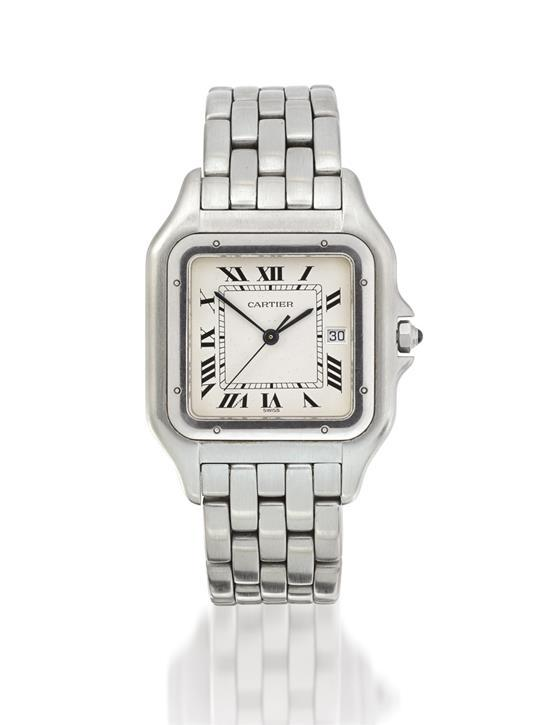 Cartier A stainless steel square wristwatch with date and bracelet case R001315 Panthère circa 1993