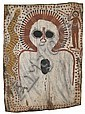 Charlie Numbulmoore circa 1907-1971 WANJINA (CIRCA 1970) natural earth pigments on eucalyptus bark, Charlie Numbulmoore, Click for value