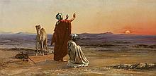 PETER CONRAD SCHREIBER 1816-1894 Biskra 'A Priere Dans Le Desert