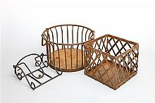 A circular wirework basket, a square metal openwork planter and an ironwork stand and two waste paper bins (5)