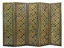 An Italian five-fold tooled leather screen, 19th century