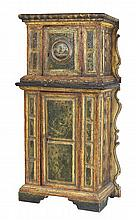 An Italian provincial polychrome painted cabinet, 17th century and later