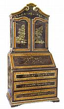 An Italian faux bois and lacquer bureau cabinet, possibly Marche, 18th century and later
