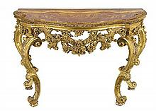 A French carved giltwood console table, late 18/19th century